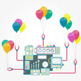 Machine and balloons Royalty Free Stock Photography