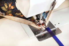 Machine binding a quilt. Royalty Free Stock Photos