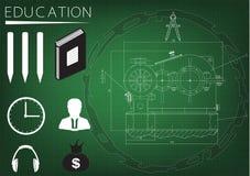 Machine-bouwende tekening en het inschrijvings` onderwijs ` Royalty-vrije Stock Foto's