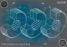 Machine-bouwende tekeningen op een blauw - grijze achtergrond, wielen Stock Foto