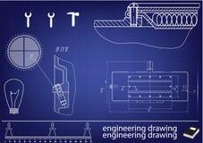 Machine-bouwende tekeningen op een blauwe achtergrond Royalty-vrije Stock Fotografie