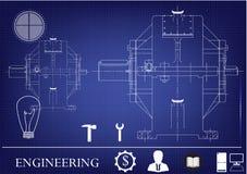 Machine-bouwende tekeningen op een blauwe achtergrond Royalty-vrije Stock Foto
