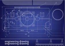 Machine-bouwende tekeningen op een blauwe achtergrond Royalty-vrije Stock Afbeeldingen