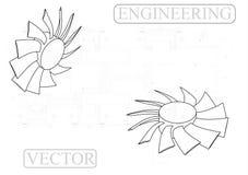 Machine-bouwende tekeningen op een witte achtergrond, ventilator Stock Foto