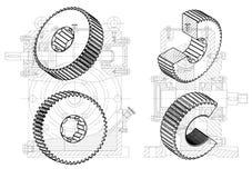Machine-bouwende tekeningen op een witte achtergrond, wielen Stock Foto