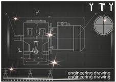 Machine-bouwende tekeningen op een zwarte achtergrond Stock Afbeeldingen