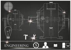 Machine-bouwende tekeningen op een zwarte achtergrond Royalty-vrije Stock Afbeeldingen