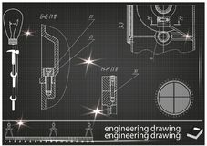 Machine-bouwende tekeningen op een zwarte achtergrond Stock Foto