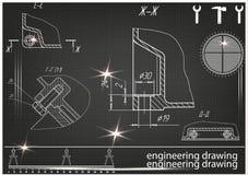 Machine-bouwende tekeningen op een zwarte achtergrond Stock Afbeelding