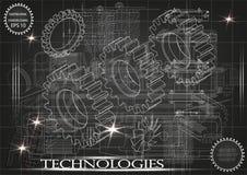 Machine-bouwende tekeningen op een zwarte achtergrond, wielen Stock Foto