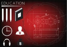 Machine-building drawing and the inscription `education` stock illustration