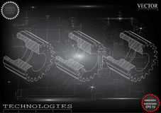 Machine-building drawings on a black background, wheels. Royalty Free Stock Image