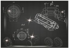 Machine-building drawings on a black background Stock Images