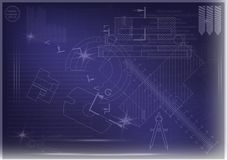 Machine-building drawings on a blue background Royalty Free Stock Images