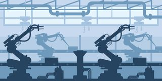 Machine-building plant, factory silhouette, interior of enterprise scene, industrial industry. royalty free illustration