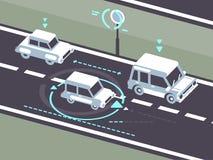Machine car autopilot. Machine car controlled on road by autopilot. Automobile traffic, vector illustration stock illustration