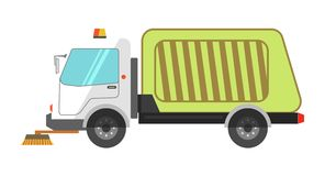 Machine cleans road garbage removal flat icon on white Stock Photo