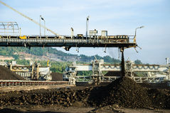 Machine in coal stock pile Stock Image