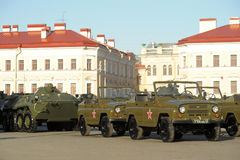 Machine in the column before the parade of military equipment to the Victory Day Royalty Free Stock Images