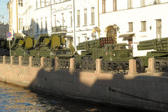 Machine in the column before the parade of military equipment to the Victory Day Royalty Free Stock Photos