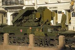 Machine in the column before the parade of military equipment to the Victory Day Stock Photography