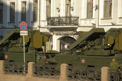 Machine in the column before the parade of military equipment to the Victory Day Stock Photos