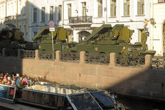 Machine in the column before the parade of military equipment to the Victory Day Royalty Free Stock Image