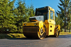 Machine for compacting asphalt Royalty Free Stock Photos