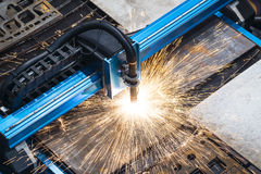 Machine for constant metal laser cutting. Metal processing close up Stock Images