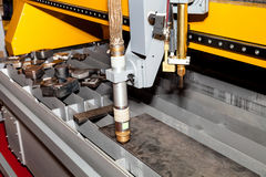 Machine for constant metal laser cutting. Metal processing close up Royalty Free Stock Image