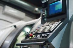Machine control panel CNC. Metalworking CNC milling machine. Cutting metal modern processing technology. royalty free stock photo