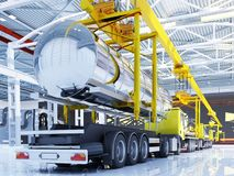 Machine on the conveyor. Trucks with fuel on the conveyor..,3d render Stock Images