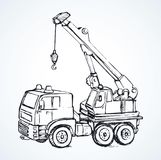 Machine with a crane. Vector drawing Stock Images