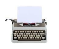 Machine à écrire avec la feuille de papier d'isolement sur le fond blanc whit Photo stock
