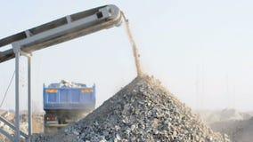 Machine for crushing stone stock video
