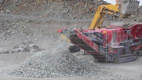 Machine For Crushing Stone. Falling Rocks stock video