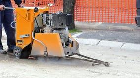 Machine for cutting asphalt stock video