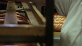 Machine for cutting bread. Cutting a loaf of bread into pieces and packing it into bags. Machine for cutting bread. Sliced bread in the factory. Manufacturing stock video footage