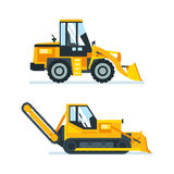 Machine for cutting, stacking of asphalt, trucks for cleaning areas. Stock Images