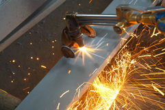Machine for cutting steel Royalty Free Stock Image