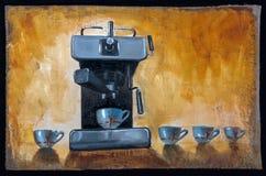 Machine de café peinte par huile avec des tasses Photo libre de droits