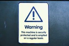 Machine de cashline d'atmosphère de banque d'argent vide pour le signe de protection de sécurité image stock