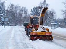 Machine de déblaiement de neige Images libres de droits