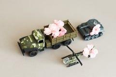 Machine de guerre avec une fleur dans le dos, la paix et la guerre, action militaire, une fleur dans le baril d'un réservoir, image libre de droits