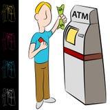Machine de kiosque d'argent d'atmosphère de côté illustration stock