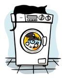 Machine de lavage avec le chat noir sur le dessus illustration stock