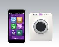 Machine de lavage commandée par le téléphone intelligent Concept pour l'Internet des choses Images libres de droits