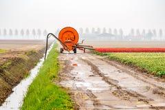 Machine de pulvérisation sur le champ de tulipe photo stock