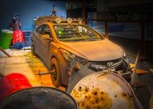 Machine 2013 de survie de zombi du coupé ZE de Hyundai Elantra images libres de droits