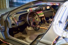 Machine de temps de Delorean de nouveau au futur siège de conducteurs photos libres de droits
